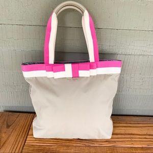 Kate Spade Shoulder Bag Laptop Purse Pink Tan Bow